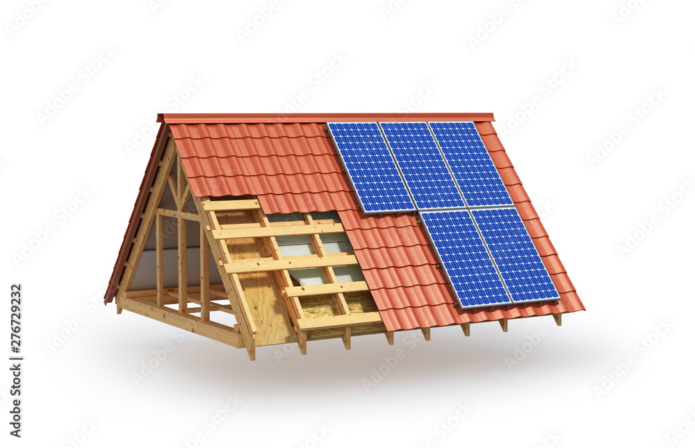 Fototapety, obrazy: building. Roof insulation and installation of solar panels. 3d illustration