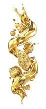 Gold Splash Around Golden Naggets Isolation On A White Background. 3d Illustration
