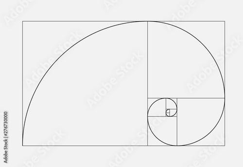 Obraz Golden ratio geometric concept. Fibonacci spiral. Vector illustration - fototapety do salonu