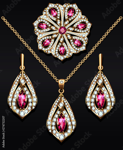 Illustration of a set of jewelry from a brooch pendant and earrings with precious stones Fototapet