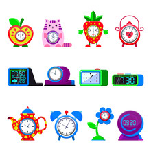 Alarm Clock Vector Cartoon Kid...