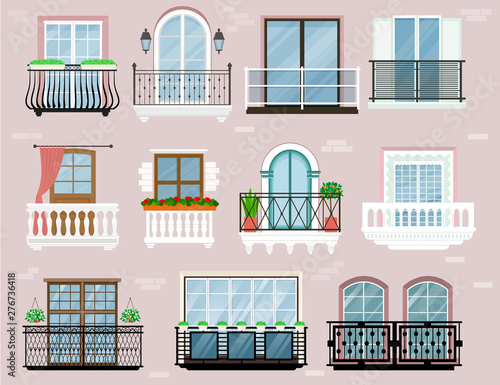 Fotografia, Obraz Balcony vector vintage balconied railing windows facade wall of building illustr