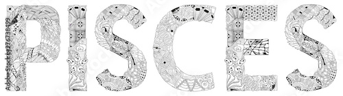 Word LEO. Vector zentangle object for decoration for coloring Canvas Print