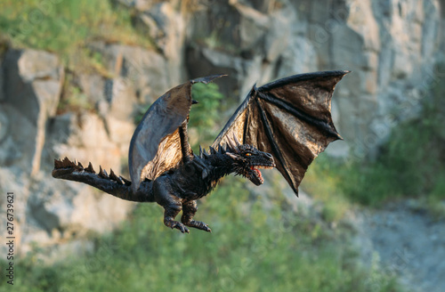 mysterious creatures with big strong wings, dragon with dark