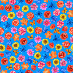 Seamless floral pattern on blue background. Different bright flowers.