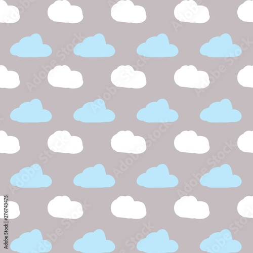 Children's decor, seamless pattern with cute cartoons, simple vector drawing