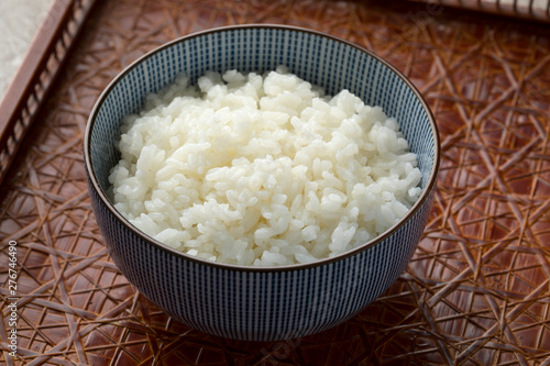 Traditional Japanese bowl with white rice