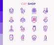 Cat shop thin line icons set: bags for transportation, hygiene, collars, doors, toys, feeders, scratchers, litter, shack, training. Modern vector illustration.