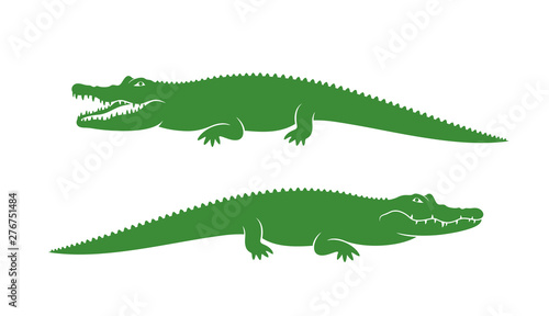 Photographie Crocodile logo. Abstract crocodile on white background