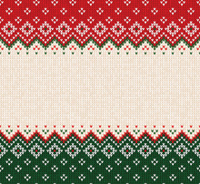 Ugly Sweater Merry Christmas Ornament Scandinavian Style Knitted Background Seamless Frame Border