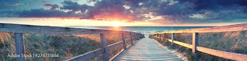 Foto-Schiebegardine Komplettsystem - Panorama vom Strand