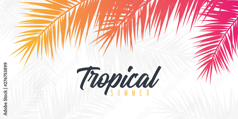 Fototapeta Summer Tropical palm leaves. Exotic palms tree. Floral Background.