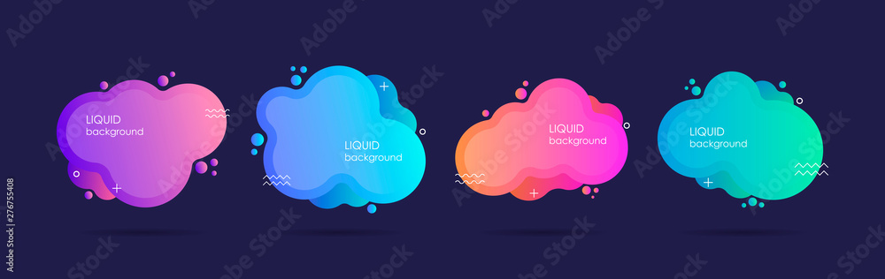 Fototapeta Abstract liquid shape. Fluid design. Isolated gradient waves. Modern vector illustration