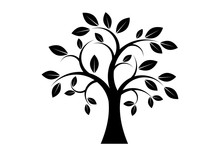 Decor Tree Black Silhouette Clip Art. Tree Isolated On White Background. Tree Silhouette Vector. Deciduous Tree Vector. Simple Tree Icon Vector