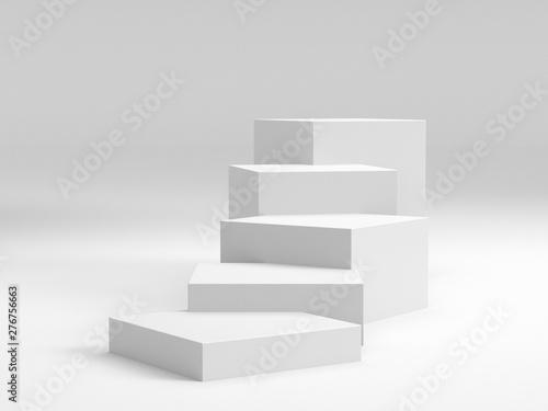 Kostki białego pudełka. 3D puste schody lub stojak lub stojak. Pusty Bakdrop Z Pudełkami.