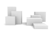 White Box Cubes. 3D Blank Stai...