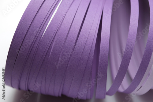 Abstract color wave curl violet strip paper background. Template for prints, posters, cards.