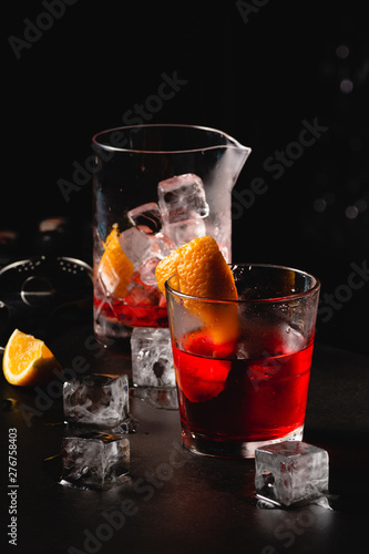 Classic cocktail Negroni with gin, campari, red vermouth Wallpaper Mural