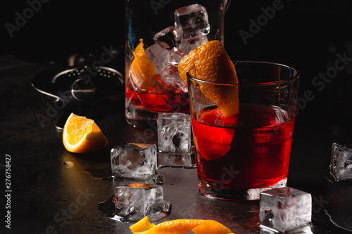 Photo  Classic cocktail Negroni with gin, campari, red vermouth