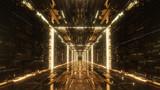 Fototapeta Perspektywa 3d - 3d render gold Digital futuristic neon tunnel