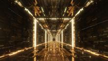 3d Render Gold Digital Futuristic Neon Tunnel