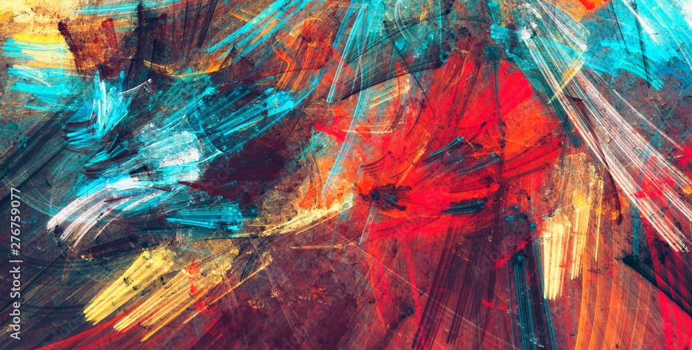 Fototapeta Bright artistic splashes. Abstract painting color texture. Modern futuristic pattern. Dynamic bright vibrant background. Fractal artwork for creative graphic design