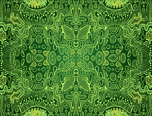 Psychedelic Bright Trippy Colorful Fractal Mandala, Lime, Yellow Gradient Color Outline, On Dark Green Background.
