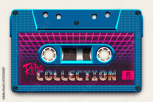 Fotografering Relistic Bright Blue Audio Cassette, Retro Collection, Mixtape in Style of 80s a