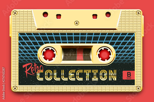 Tela  Relistic Golden Audio Cassette, Retro Collection, Mixtape in Style of 80s and Re