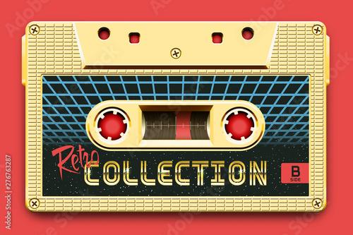Fotografia  Relistic Golden Audio Cassette, Retro Collection, Mixtape in Style of 80s and Re