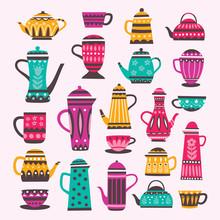 Beautiful Colorful Teapot Elements Set