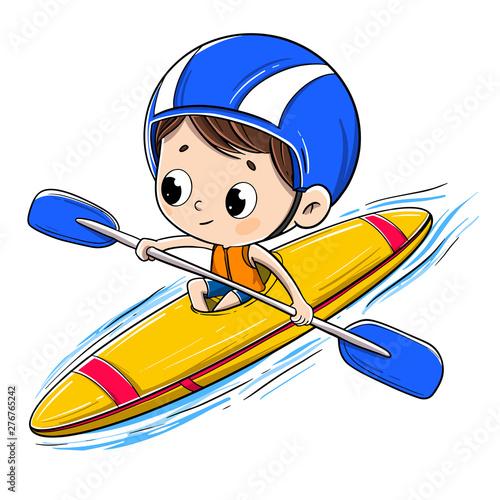 Boy riding in a canoe with a helmet Fototapeta