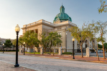 Historic Volusia County Courthouse With Copper Dome Clock Street View In DeLand, Florida
