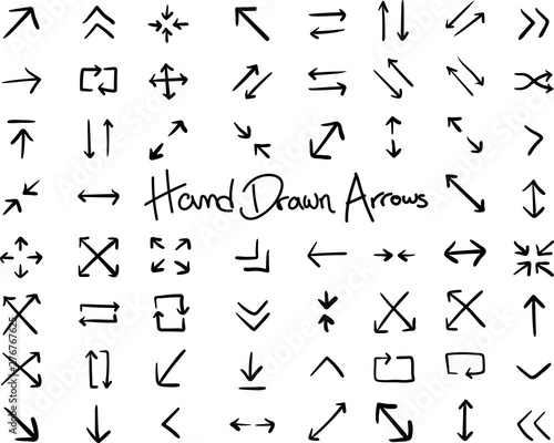Fotografie, Obraz  Hand Drawn Arrows Infographic Elements