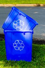 Two Empty Roadside Recycling Bins