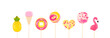 Leinwanddruck Bild - Colorful lollipops isolated on white background. Donut, ice cream, pineapple, flamingo, heart