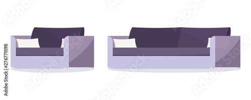 Fotografia Icon set of dark purple color soft sofa and armchair with cushions