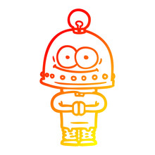 Warm Gradient Line Drawing Happy Carton Robot With Light Bulb