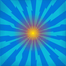 Explode Flash, Cartoon Explosion, Space Burst Effect, Comic Bomb, Star Explosion On Blue Backgground.
