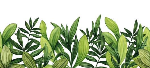 Fototapeta Do kuchni Seamless Border of Watercolor Lush Foliage