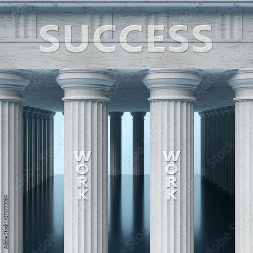 Work is a vital part and foundation of success, it helps achieving success, pros Wallpaper Mural