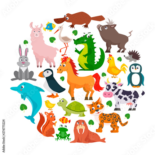 Deurstickers Dinosaurs Set of cute cartoon animals. Vector illustration.