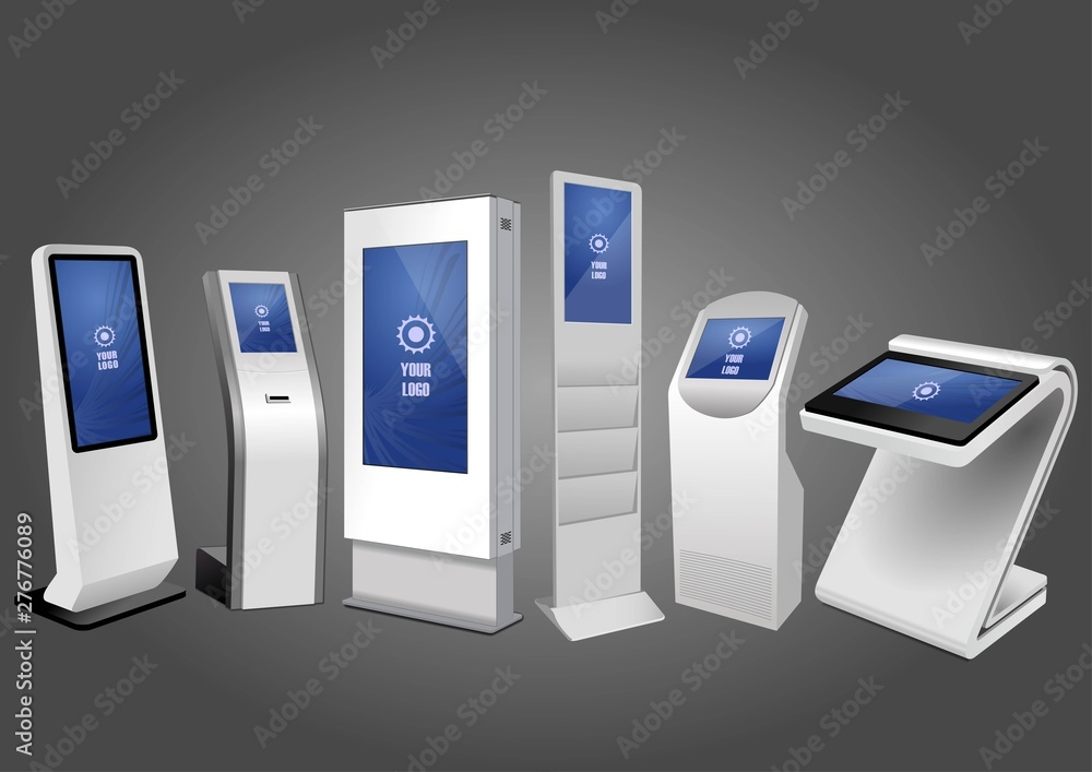 Fototapeta Six Promotional Interactive Information Kiosk, Advertising Display, Terminal Stand, Touch Screen Display. Mock Up Template.