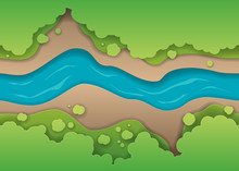 Concept Of Paper River With Shadows