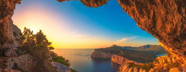 Landscape of the gulf of capo caccia at sunset from grotta dei vasi rotti - Sardinia