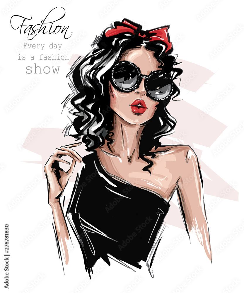 Fototapety, obrazy: Hand drawn beautiful young woman in sunglasses. Stylish girl with bow on her head. Fashion woman look. Sketch. Vector illustration.