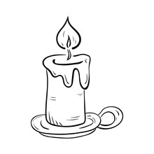 Handdrawn Candle Doodle Icon. ...