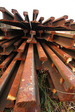 Section Of Rail For Trackwork Or Railway Track Stacking In Stock Yard