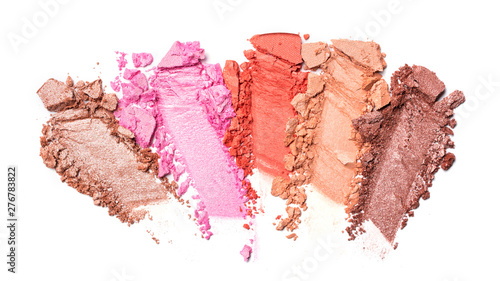 Shiny smear of colorful eyeshadow isolated on white Tableau sur Toile