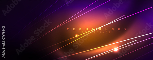 Color light with lines, outer space background, bright rays Canvas Print